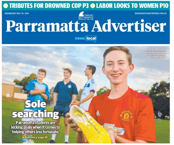 Parramatta Advertiser covers Boots 4 Africa Appeal